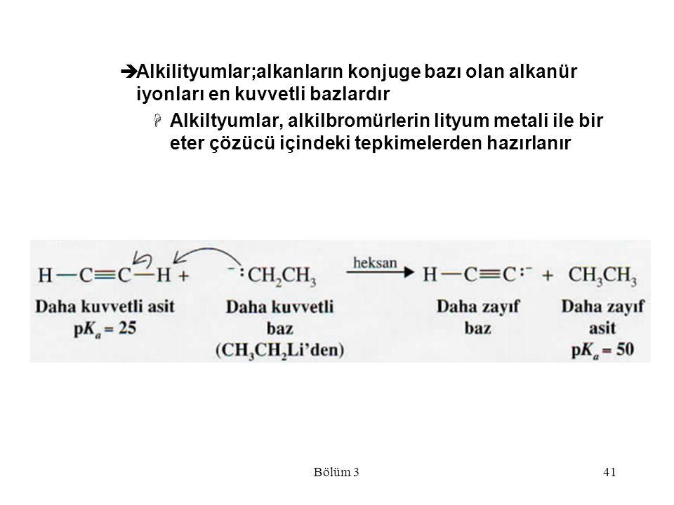 Bölüm 341  Alkilityumlar;alkanların konjuge bazı olan alkanür iyonları en kuvvetli bazlardır  Alkiltyumlar, alkilbromürlerin lityum metali ile bir e
