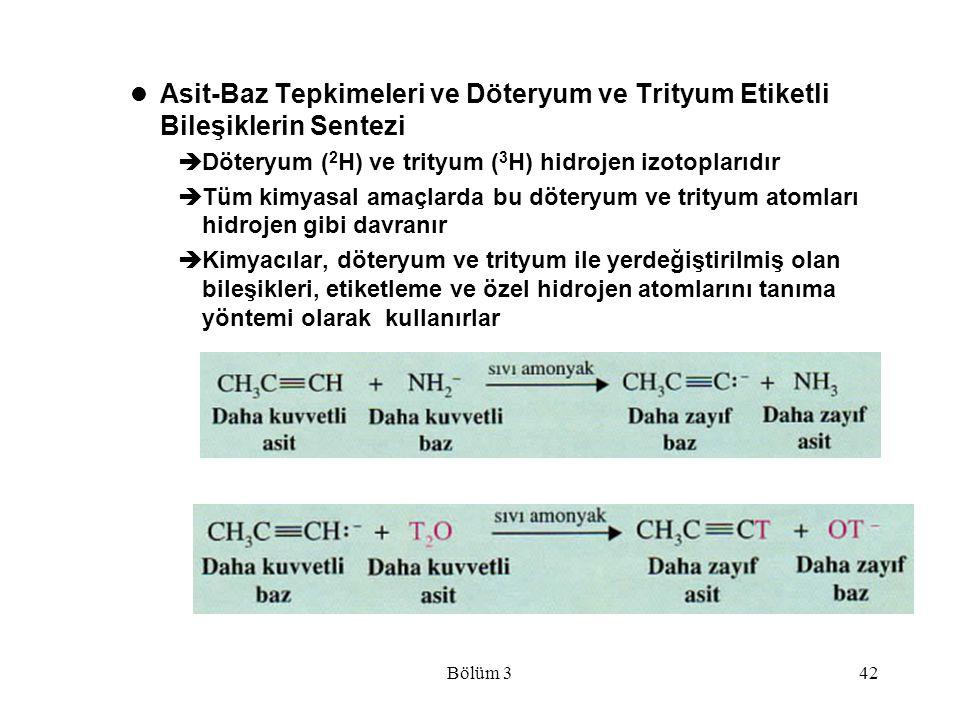 Bölüm 342 Asit-Baz Tepkimeleri ve Döteryum ve Trityum Etiketli Bileşiklerin Sentezi  Döteryum ( 2 H) ve trityum ( 3 H) hidrojen izotoplarıdır  Tüm k