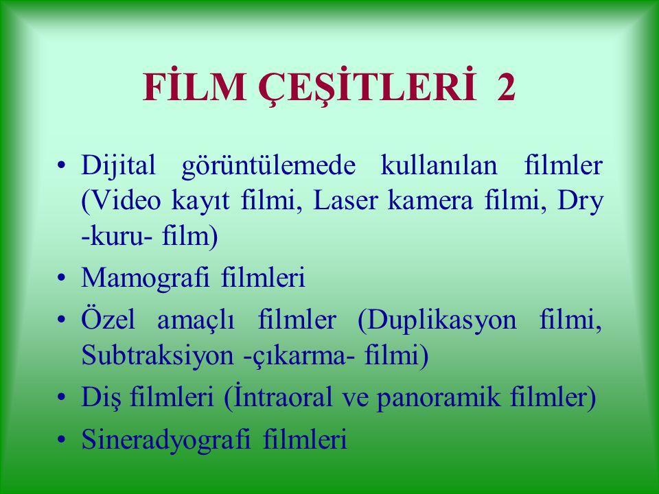 Radyografi Filmleri Screen (çift emülsiyonlu) film: Ranforsatörlü (screenli) kasetlerde kullanılır. Günümüzde yaygın kullanılan filmlerdir. Direkt eks