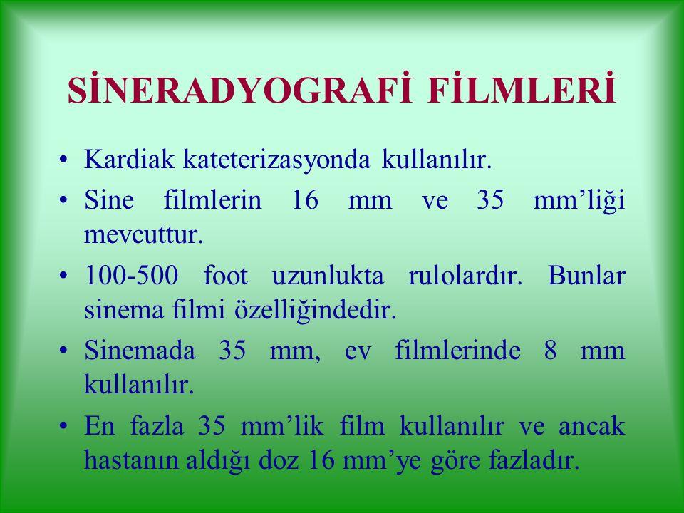 DİŞ FİLMLERİ İntraoral Filmler İrtraorol filmler çift emülsiyonludur. Küçük bir kılıfla sarılıdırlar. Ranforsatörsüz kullanılır. Arkası kurşun muhafaz