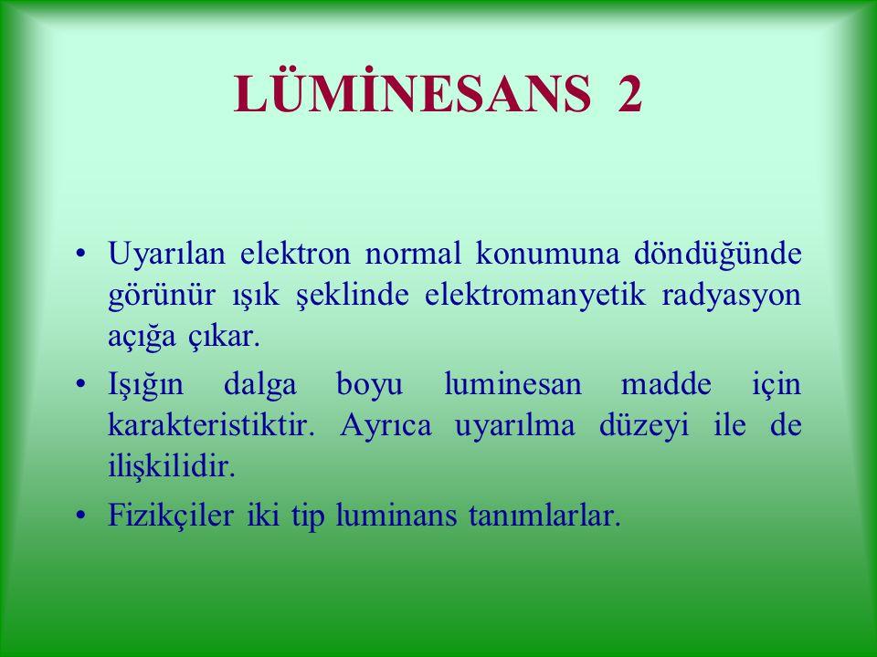 LÜMİNESANS 1 Dış uyaranla ışık veren maddelere luminesan madde, ışığa da luminesans denir. Dış uyaranla elektrik akımı, biyokimyasal reaksiyon, ışık v