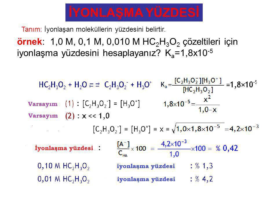 İYONLAŞMA YÜZDESİ örnek: 1,0 M, 0,1 M, 0,010 M HC 2 H 3 O 2 çözeltileri için iyonlaşma yüzdesini hesaplayanız? K a =1,8x10 -5 Tanım: İyonlaşan molekül
