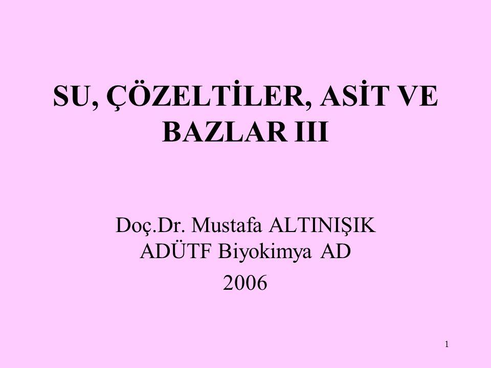 1 SU, ÇÖZELTİLER, ASİT VE BAZLAR III Doç.Dr. Mustafa ALTINIŞIK ADÜTF Biyokimya AD 2006