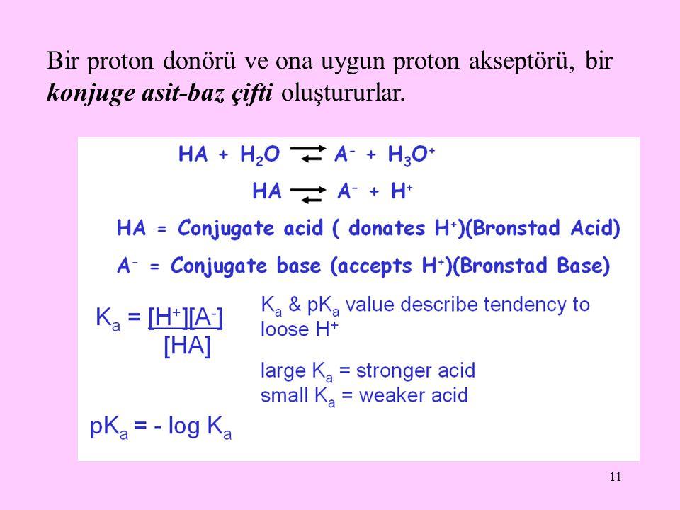 11 Bir proton donörü ve ona uygun proton akseptörü, bir konjuge asit-baz çifti oluştururlar.