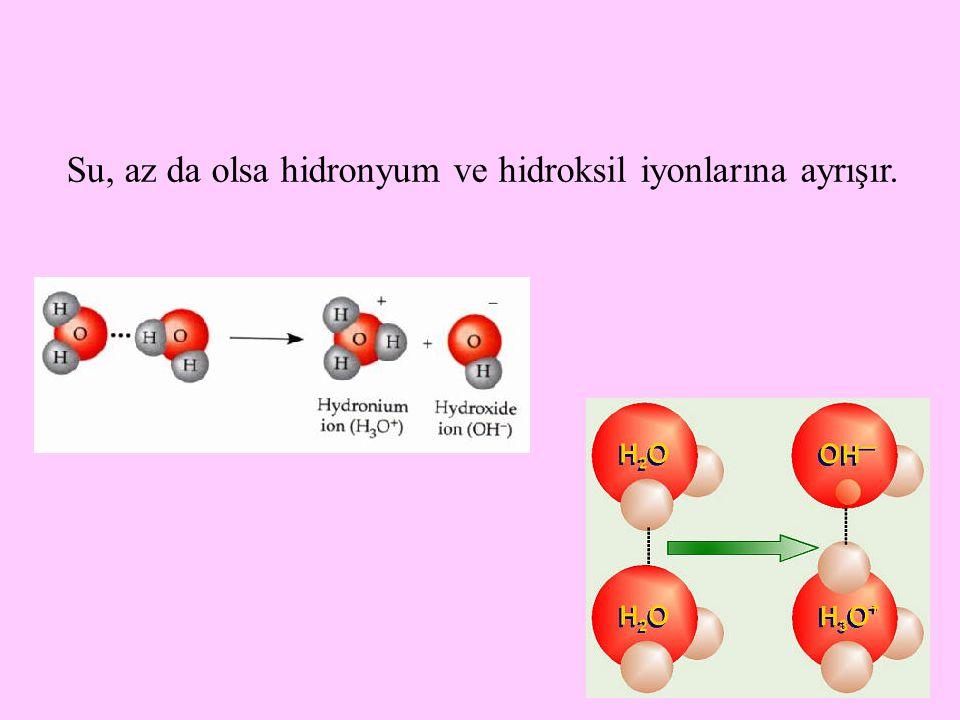 4 Sulu çözeltilerde, saf suda olduğu gibi H + ile OH  'nin konsantrasyonları eşit olduğunda, çözeltinin nötral pH' da olduğu ifade edilir.