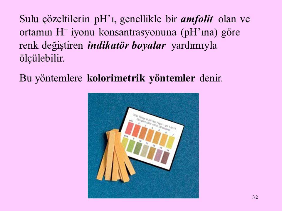 32 Sulu çözeltilerin pH'ı, genellikle bir amfolit olan ve ortamın H + iyonu konsantrasyonuna (pH'ına) göre renk değiştiren indikatör boyalar yardımıyl