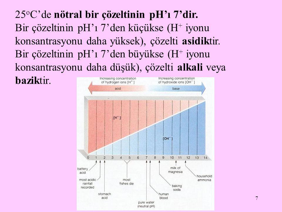 7 25 o C'de nötral bir çözeltinin pH'ı 7'dir. Bir çözeltinin pH'ı 7'den küçükse (H + iyonu konsantrasyonu daha yüksek), çözelti asidiktir. Bir çözelti