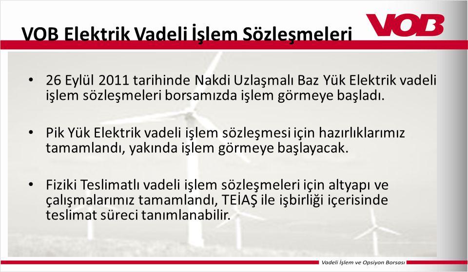VOB Elektrik Vadeli İşlem Sözleşmeleri 26 Eylül 2011 tarihinde Nakdi Uzlaşmalı Baz Yük Elektrik vadeli işlem sözleşmeleri borsamızda işlem görmeye baş