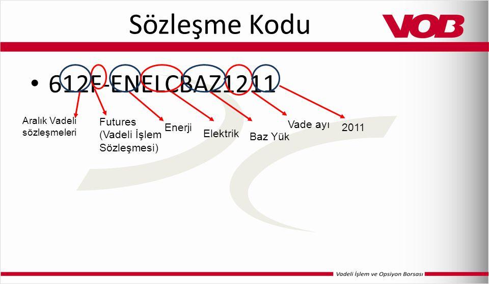 Sözleşme Kodu 612F-ENELCBAZ1211 Futures (Vadeli İşlem Sözleşmesi) Aralık Vadeli sözleşmeleri Enerji Elektrik Vade ayı 2011 Baz Yük