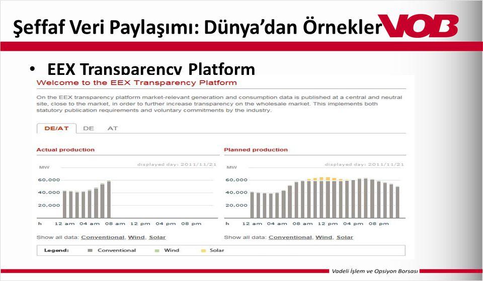 Şeffaf Veri Paylaşımı: Dünya'dan Örnekler EEX Transparency Platform