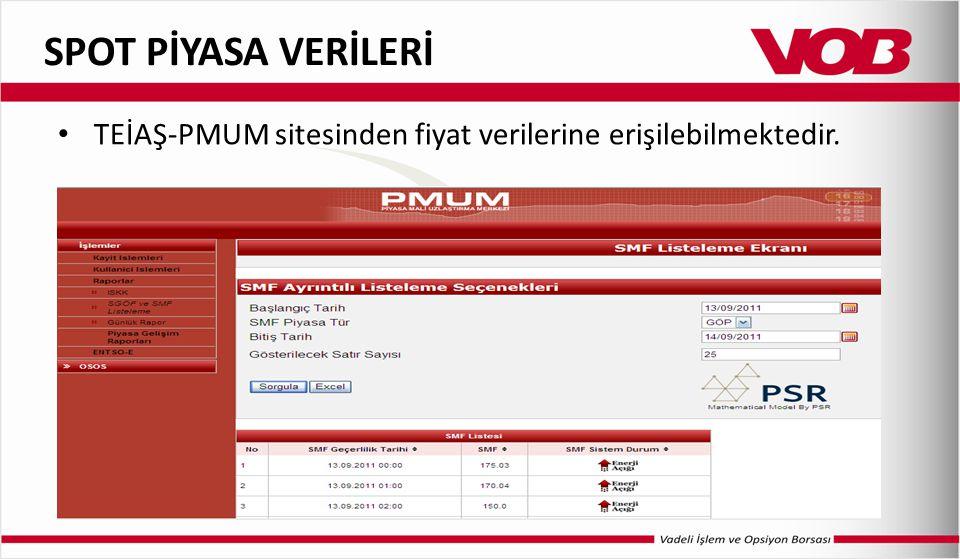 SPOT PİYASA VERİLERİ TEİAŞ-PMUM sitesinden fiyat verilerine erişilebilmektedir.