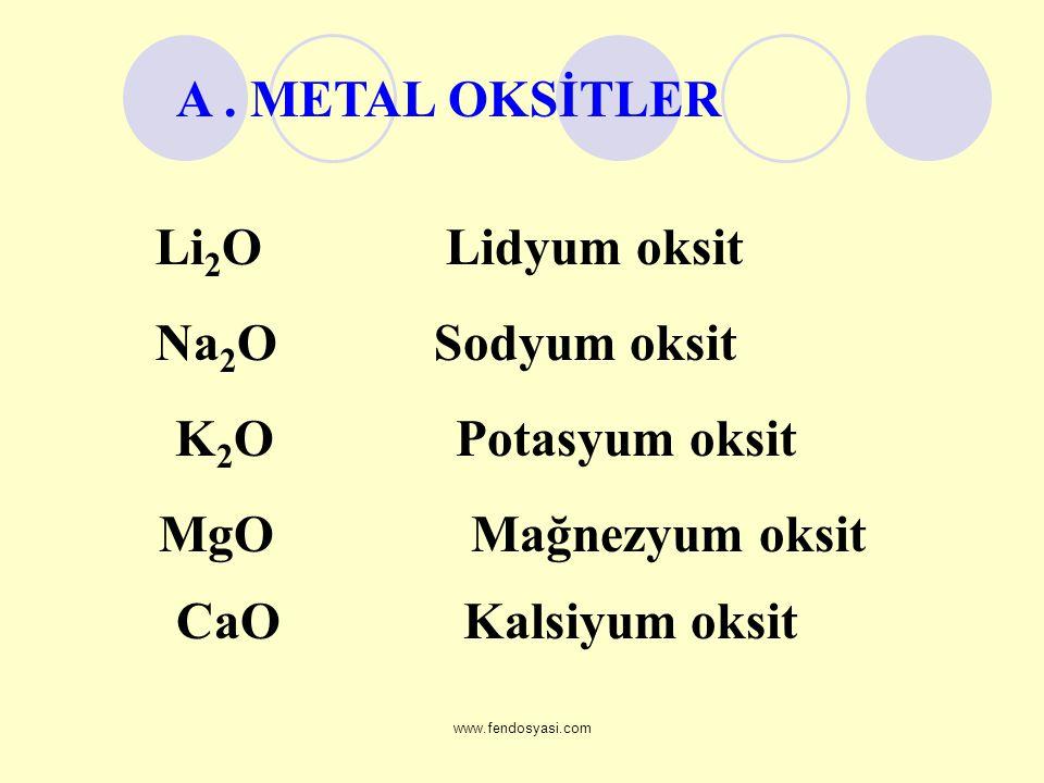 www.fendosyasi.com Li 2 O Lidyum oksit Na 2 O Sodyum oksit K 2 O Potasyum oksit MgO Mağnezyum oksit CaO Kalsiyum oksit A. METAL OKSİTLER
