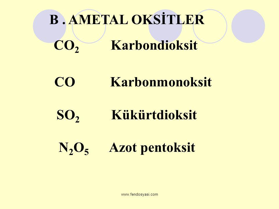 www.fendosyasi.com CO 2 Karbondioksit CO Karbonmonoksit SO 2 Kükürtdioksit N 2 O 5 Azot pentoksit B. AMETAL OKSİTLER