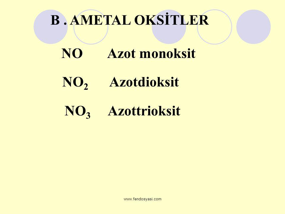 www.fendosyasi.com NO Azot monoksit NO 2 Azotdioksit NO 3 Azottrioksit B. AMETAL OKSİTLER