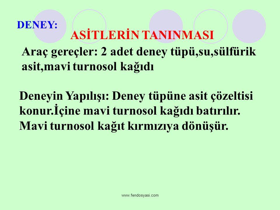 www.fendosyasi.com ASİTLERİN TANINMASI DENEY: Araç gereçler: 2 adet deney tüpü,su,sülfürik asit,mavi turnosol kağıdı Deneyin Yapılışı: Deney tüpüne asit çözeltisi konur.İçine mavi turnosol kağıdı batırılır.