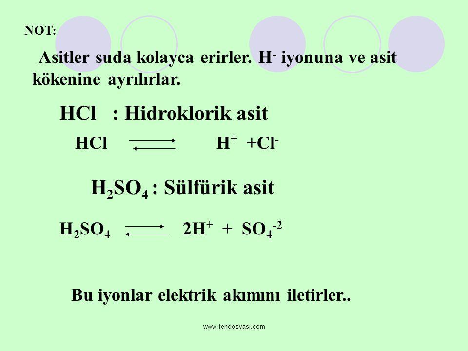 www.fendosyasi.com NOT: Asitler suda kolayca erirler. H - iyonuna ve asit kökenine ayrılırlar. HCl : Hidroklorik asit HCl H + +Cl - H 2 SO 4 : Sülfüri
