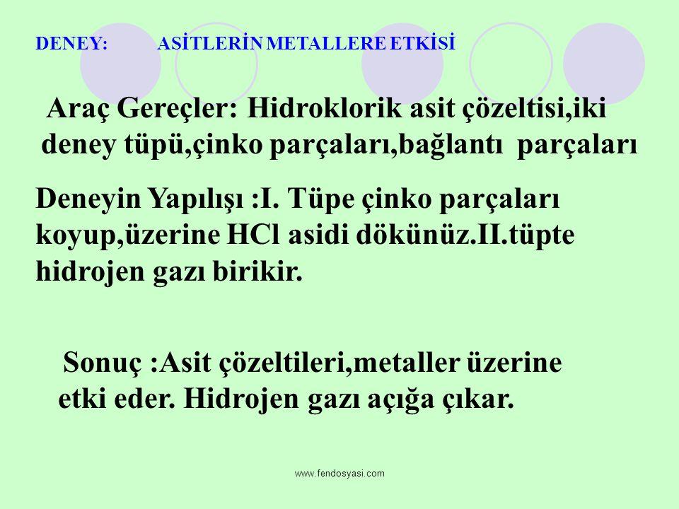 www.fendosyasi.com DENEY: ASİTLERİN METALLERE ETKİSİ Araç Gereçler: Hidroklorik asit çözeltisi,iki deney tüpü,çinko parçaları,bağlantı parçaları Deneyin Yapılışı :I.