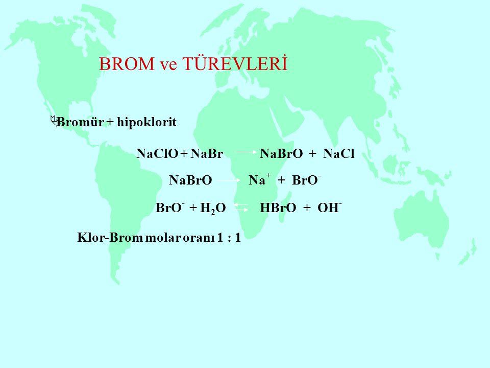 BROM ve TÜREVLERİ  Bromür + hipoklorit BrO - + H 2 O HBrO + OH - NaClO + NaBr NaBrO + NaCl NaBrO Na + + BrO - Klor-Brom molar oranı 1 : 1