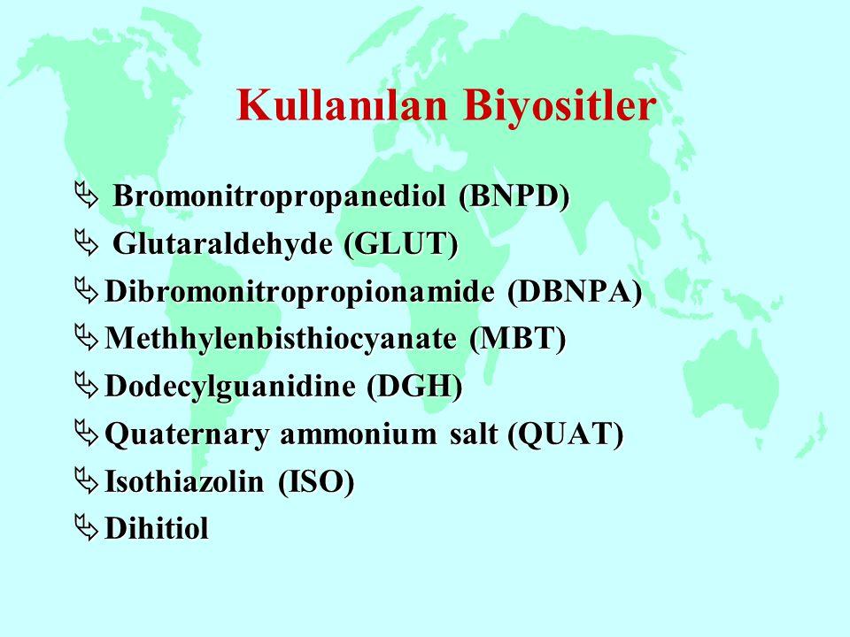  Bromonitropropanediol (BNPD)  Glutaraldehyde (GLUT)  Dibromonitropropionamide (DBNPA)  Methhylenbisthiocyanate (MBT)  Dodecylguanidine (DGH)  Q