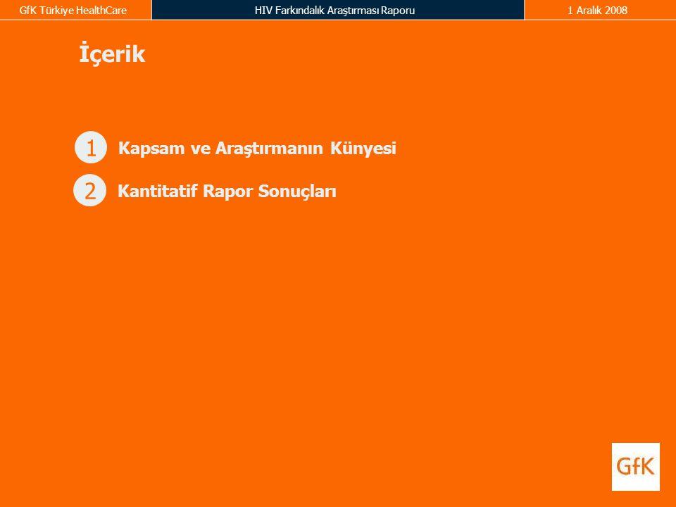 GfK Türkiye HealthCareHIV Farkındalık Araştırması Raporu1 Aralık 2008 İçerik 1 Kapsam ve Araştırmanın Künyesi 2 Kantitatif Rapor Sonuçları