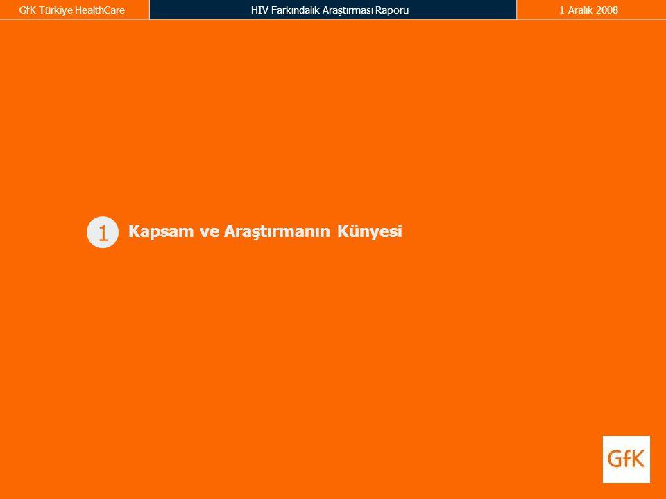GfK Türkiye HealthCareHIV Farkındalık Araştırması Raporu1 Aralık 2008 1 Kapsam ve Araştırmanın Künyesi