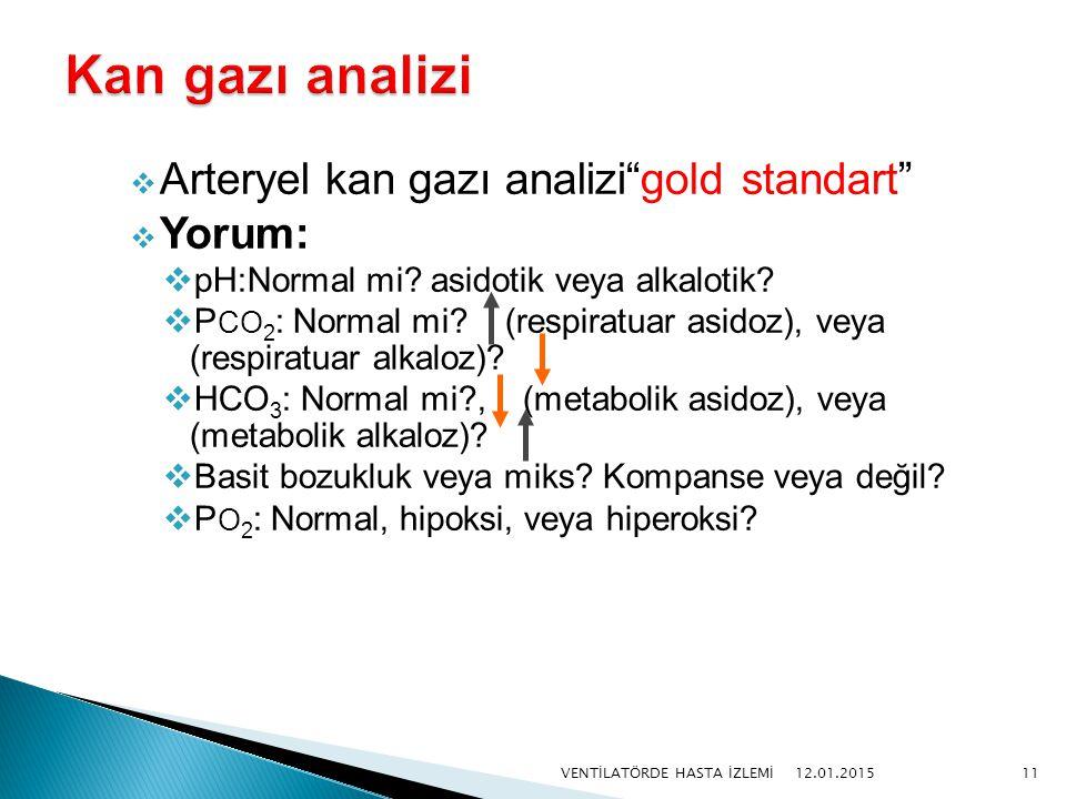 " Arteryel kan gazı analizi""gold standart""  Yorum:  pH:Normal mi? asidotik veya alkalotik?  P CO 2 : Normal mi? (respiratuar asidoz), veya (respira"