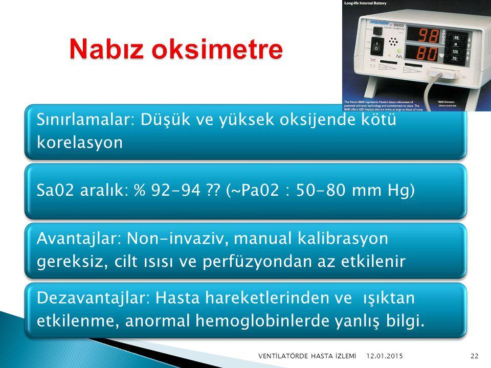 Sınırlamalar: Düşük ve yüksek oksijende kötü korelasyon Sa02 aralık: % 92-94 ?? (~Pa02 : 50-80 mm Hg) Avantajlar: Non-invaziv, manual kalibrasyon gere