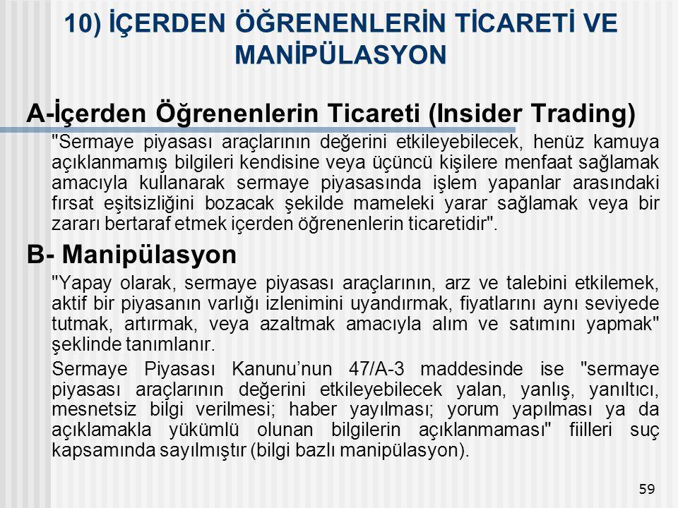 59 A-İçerden Öğrenenlerin Ticareti (Insider Trading)
