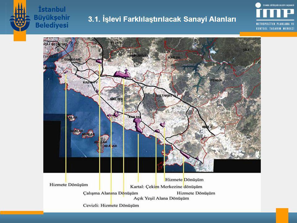 İstanbul Büyükşehir Belediyesi 3.1. İşlevi Farklılaştırılacak Sanayi Alanları