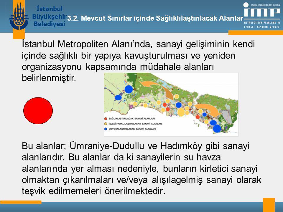 İstanbul Büyükşehir Belediyesi İstanbul Metropoliten Alanı'nda, sanayi gelişiminin kendi içinde sağlıklı bir yapıya kavuşturulması ve yeniden organizasyonu kapsamında müdahale alanları belirlenmiştir.