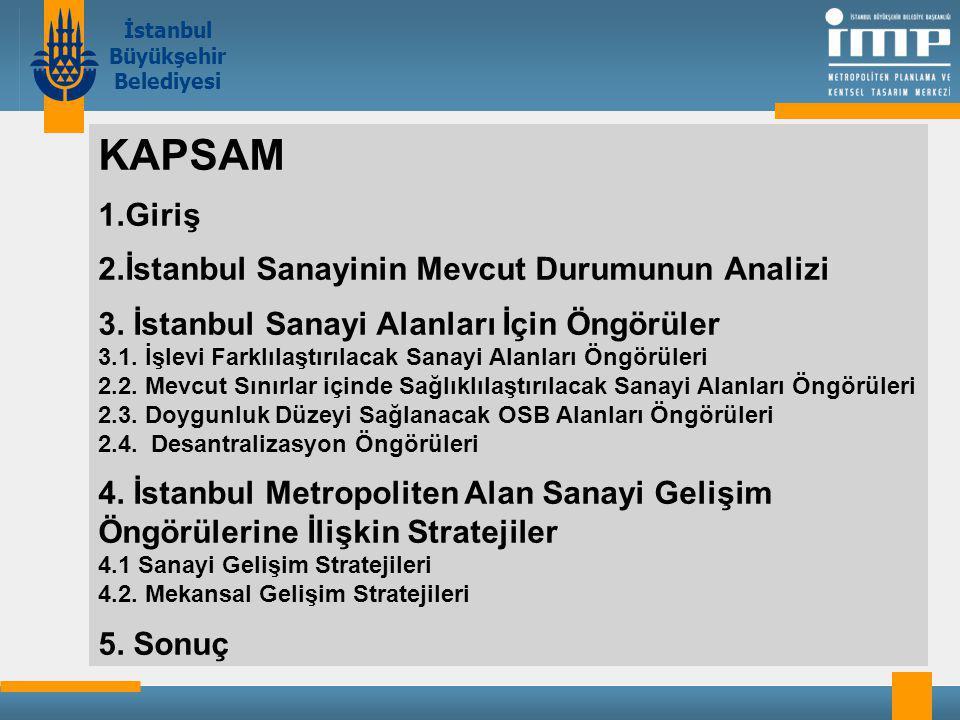 İstanbul Büyükşehir Belediyesi KAPSAM 1.Giriş 2.İstanbul Sanayinin Mevcut Durumunun Analizi 3.