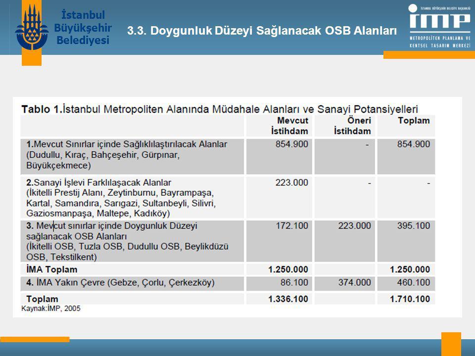 İstanbul Büyükşehir Belediyesi 3.3. Doygunluk Düzeyi Sağlanacak OSB Alanları