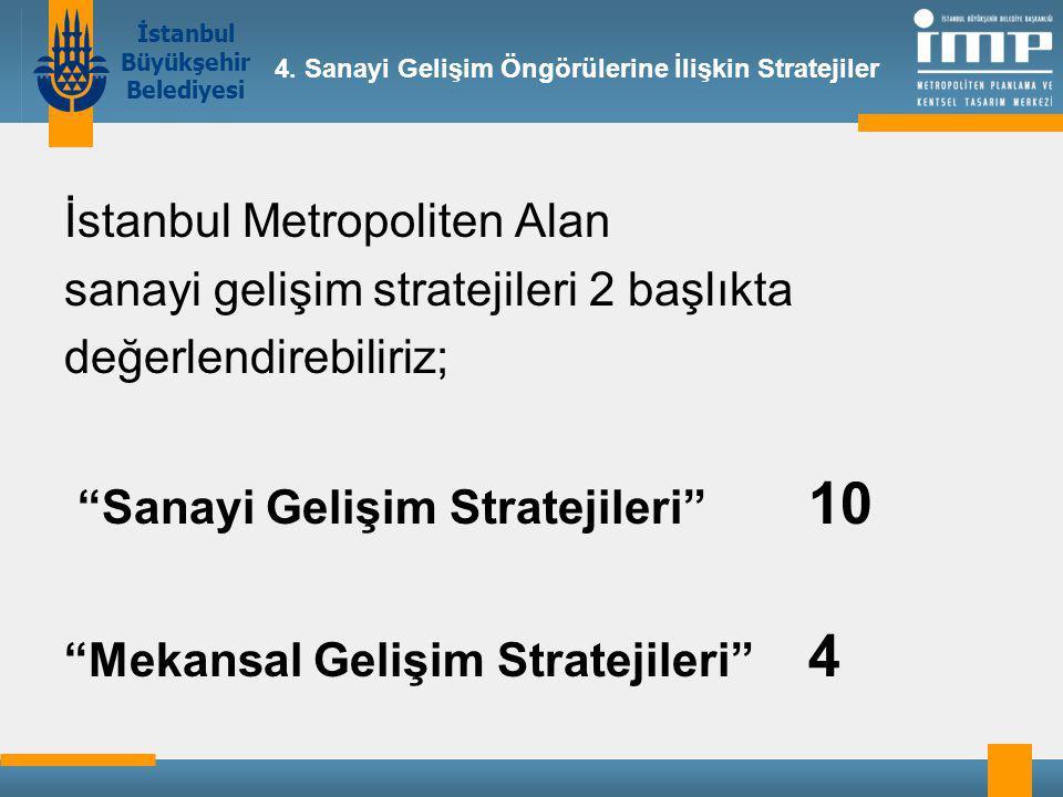 İstanbul Büyükşehir Belediyesi İstanbul Metropoliten Alan sanayi gelişim stratejileri 2 başlıkta değerlendirebiliriz; Sanayi Gelişim Stratejileri 10 Mekansal Gelişim Stratejileri 4 4.