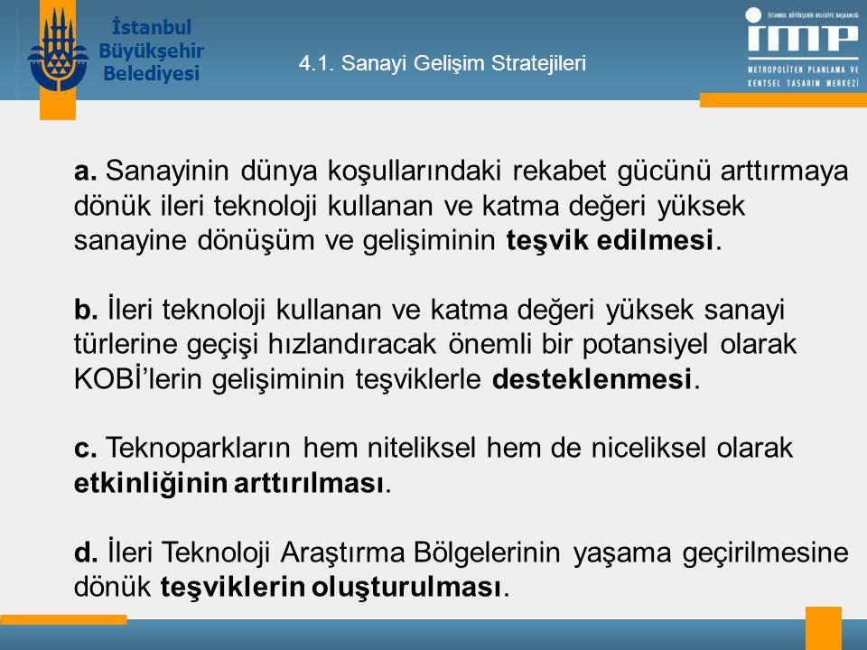 İstanbul Büyükşehir Belediyesi 4.1.Sanayi Gelişim Stratejileri a.