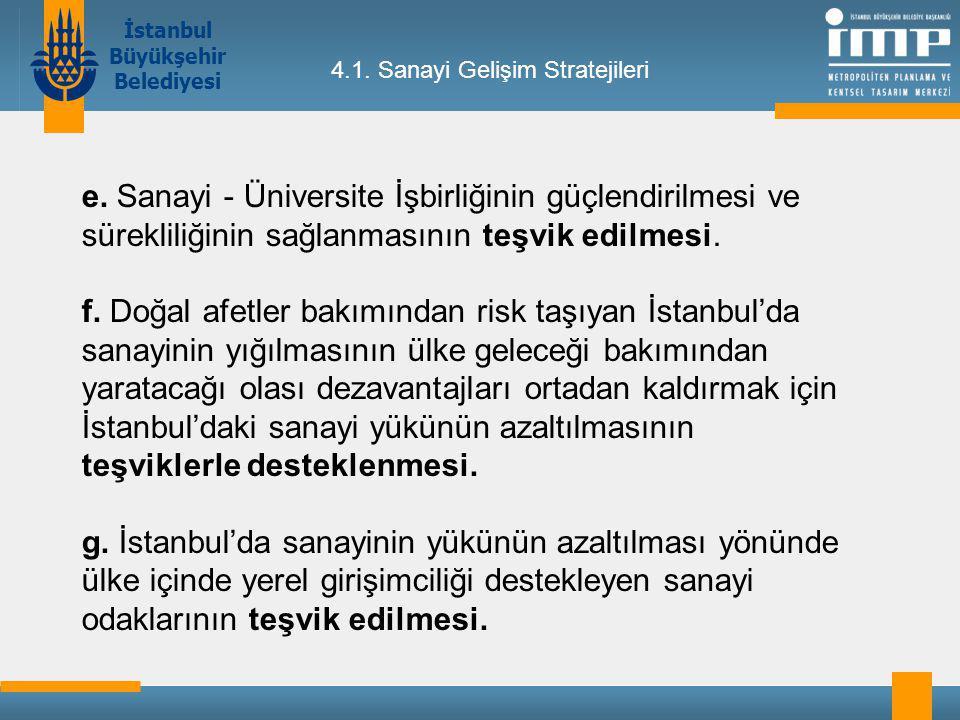 İstanbul Büyükşehir Belediyesi 4.1.Sanayi Gelişim Stratejileri e.