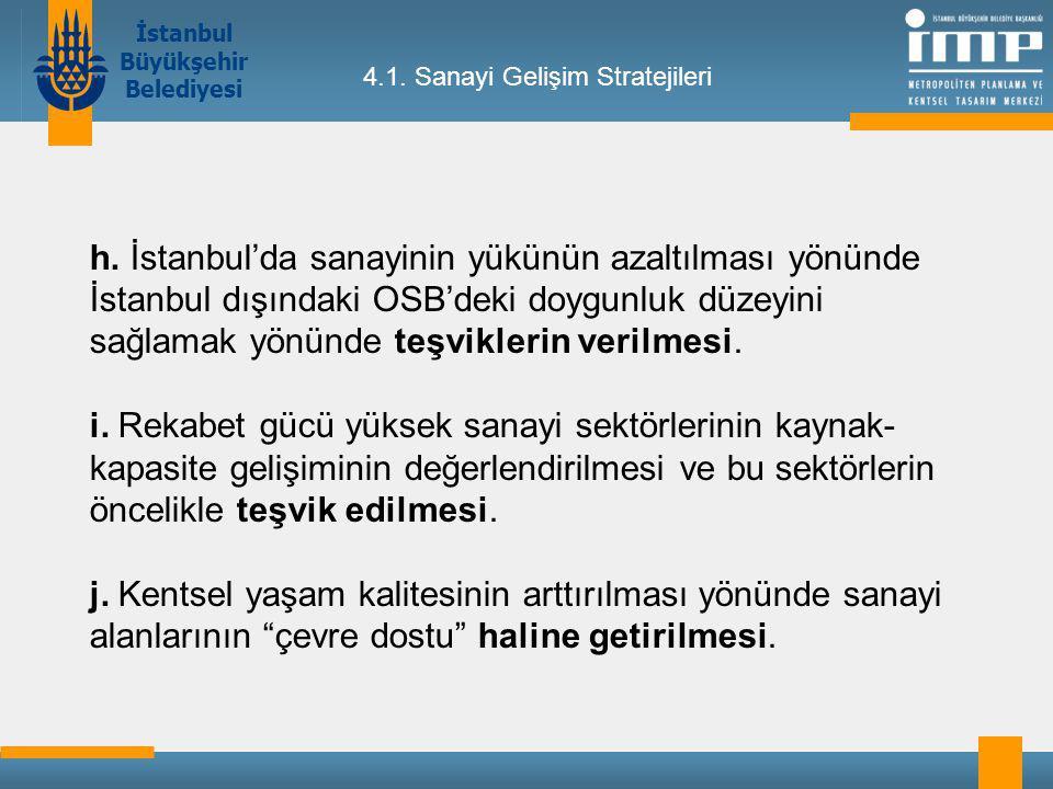 İstanbul Büyükşehir Belediyesi 4.1.Sanayi Gelişim Stratejileri h.
