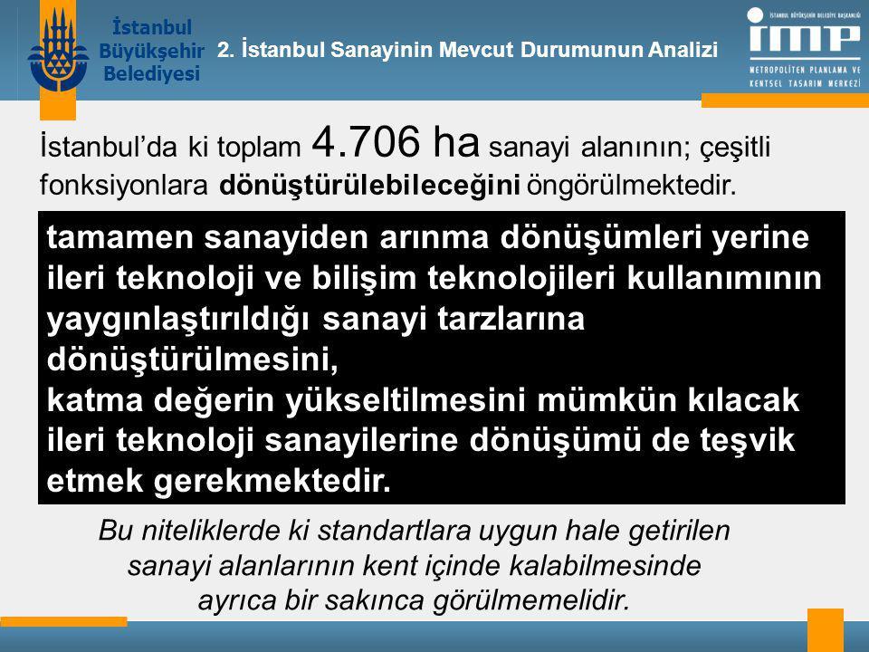 İstanbul Büyükşehir Belediyesi tamamen sanayiden arınma dönüşümleri yerine ileri teknoloji ve bilişim teknolojileri kullanımının yaygınlaştırıldığı sanayi tarzlarına dönüştürülmesini, katma değerin yükseltilmesini mümkün kılacak ileri teknoloji sanayilerine dönüşümü de teşvik etmek gerekmektedir.