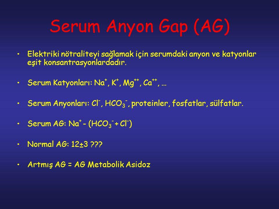Serum Anyon Gap (AG) Elektriki nötraliteyi sağlamak için serumdaki anyon ve katyonlar eşit konsantrasyonlardadır. Serum Katyonları: Na +, K +, Mg ++,
