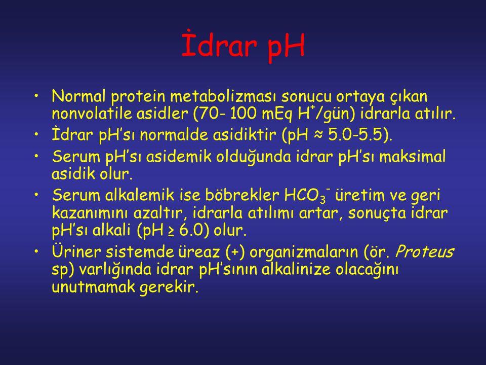 İdrar pH Normal protein metabolizması sonucu ortaya çıkan nonvolatile asidler (70- 100 mEq H + /gün) idrarla atılır. İdrar pH'sı normalde asidiktir (p