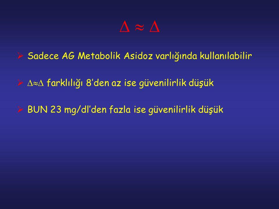       Sadece AG Metabolik Asidoz varlığında kullanılabilir   farklılığı 8'den az ise güvenilirlik düşük  BUN 23 mg/dl'den fazla ise güveni