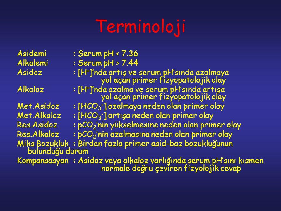 Terminoloji Asidemi: Serum pH < 7.36 Alkalemi: Serum pH > 7.44 Asidoz: [H + ]'nda artış ve serum pH'sında azalmaya yol açan primer fizyopatolojik olay