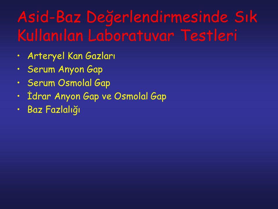 Asid-Baz Değerlendirmesinde Sık Kullanılan Laboratuvar Testleri Arteryel Kan Gazları Serum Anyon Gap Serum Osmolal Gap İdrar Anyon Gap ve Osmolal Gap