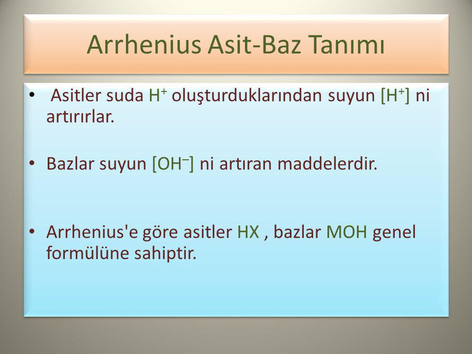 Arrhenius Asit-Baz Tanımı Asitler suda H + oluşturduklarından suyun [H + ] ni artırırlar.