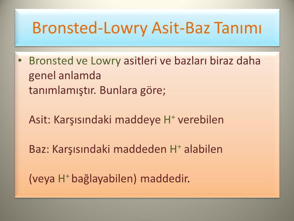 Bronsted-Lowry Asit-Baz Tanımı Bronsted ve Lowry asitleri ve bazları biraz daha genel anlamda tanımlamıştır.