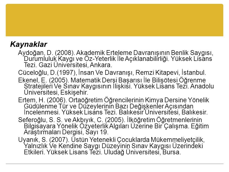 Kaynaklar Aydoğan, D. (2008). Akademik Erteleme Davranışının Benlik Saygısı, Durumluluk Kaygı ve Öz-Yeterlik İle Açıklanabilirliği. Yüksek Lisans Tezi