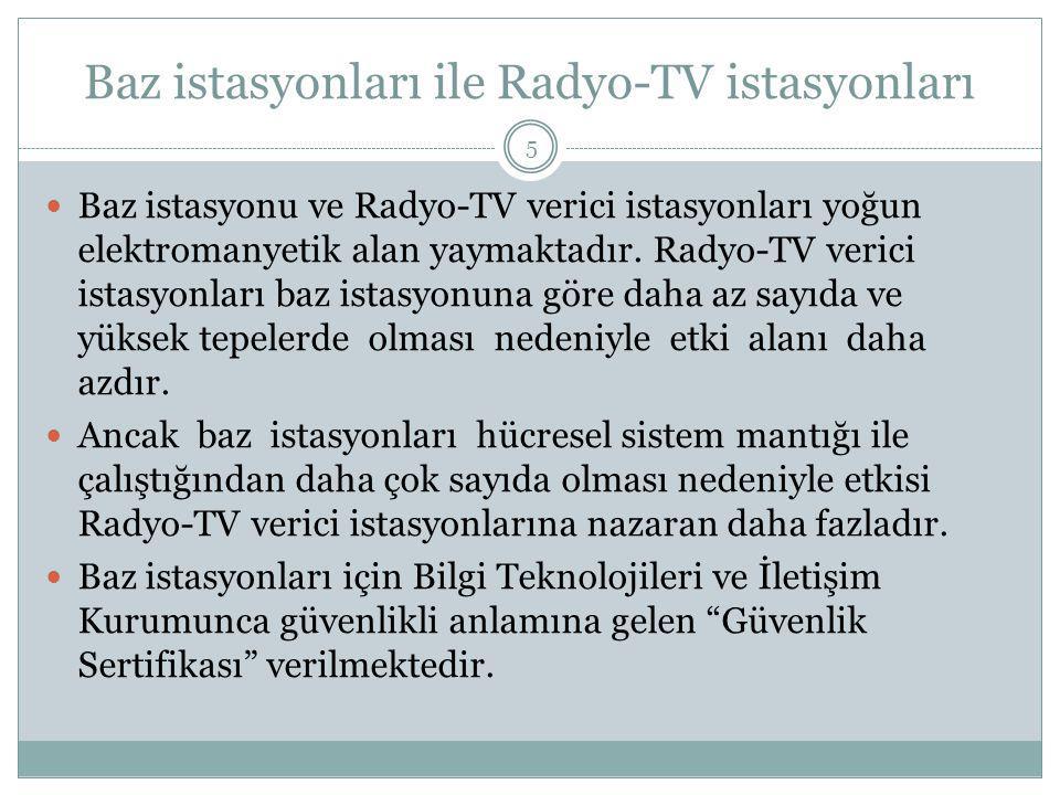 Baz istasyonları ile Radyo-TV istasyonları Baz istasyonu ve Radyo-TV verici istasyonları yoğun elektromanyetik alan yaymaktadır. Radyo-TV verici istas