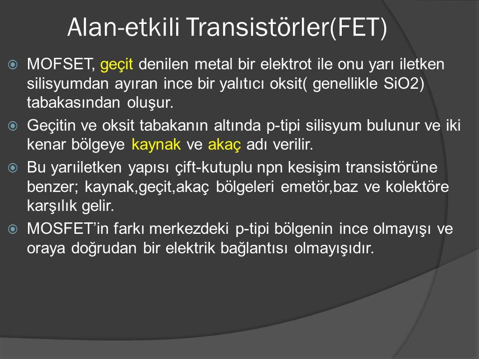 Alan-etkili Transistörler(FET)  MOFSET, geçit denilen metal bir elektrot ile onu yarı iletken silisyumdan ayıran ince bir yalıtıcı oksit( genellikle