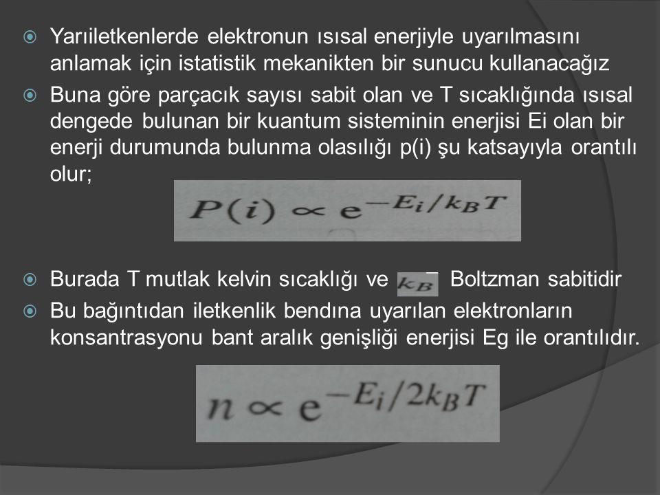  Yarıiletkenlerde elektronun ısısal enerjiyle uyarılmasını anlamak için istatistik mekanikten bir sunucu kullanacağız  Buna göre parçacık sayısı sab