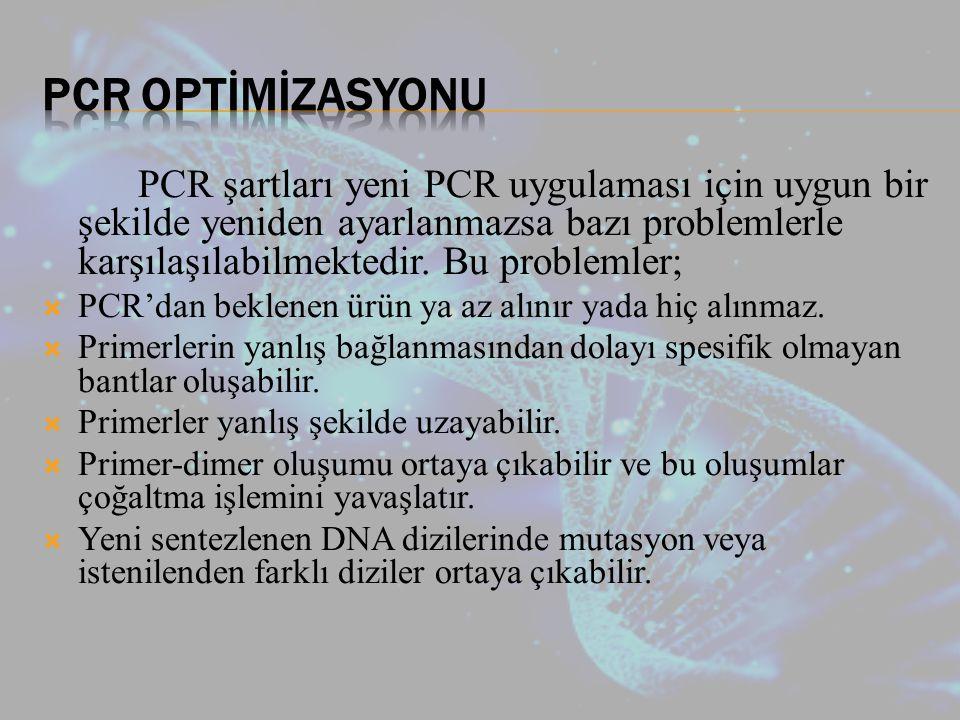 PCR şartları yeni PCR uygulaması için uygun bir şekilde yeniden ayarlanmazsa bazı problemlerle karşılaşılabilmektedir.