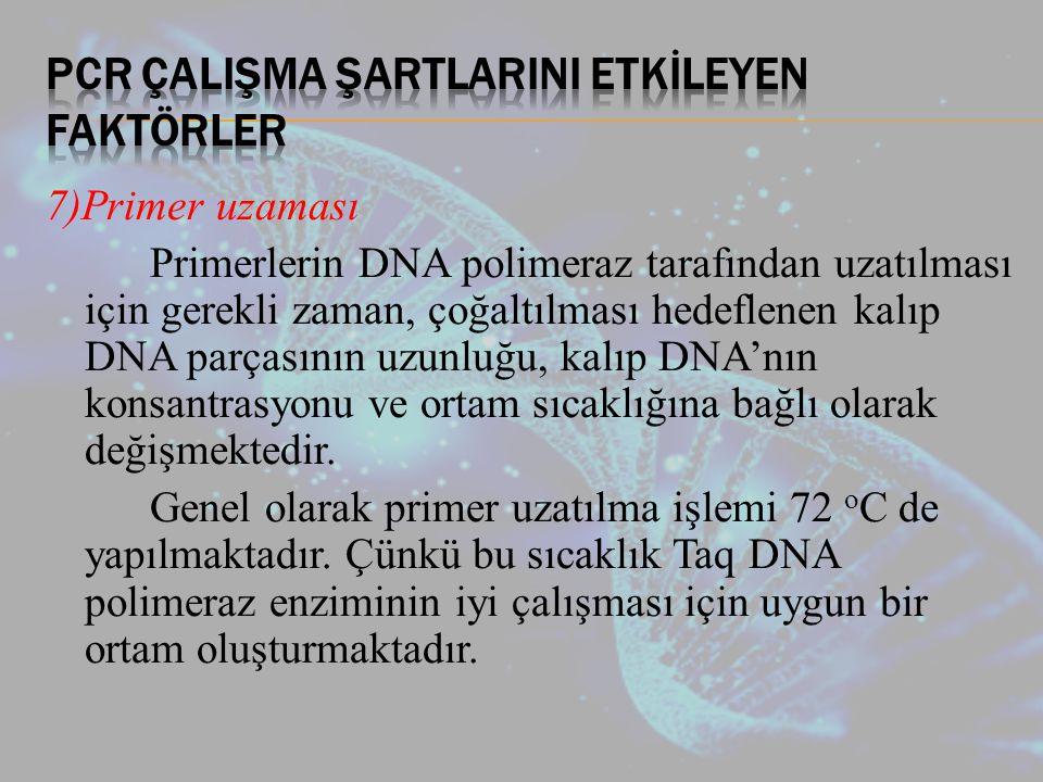 7)Primer uzaması Primerlerin DNA polimeraz tarafından uzatılması için gerekli zaman, çoğaltılması hedeflenen kalıp DNA parçasının uzunluğu, kalıp DNA'nın konsantrasyonu ve ortam sıcaklığına bağlı olarak değişmektedir.